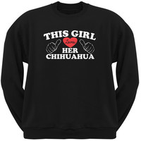 Valentine's Day - This Girl Loves Her Chihuahua Black Adult Pullover Hoodie