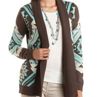 Geo Aztec Open Cardigan Sweater by Charlotte Russe - Brown Combo