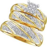 10kt Yellow Gold His & Hers Round Diamond Cluster Matching Bridal Wedding Ring Band Set 1/4 Cttw 46893