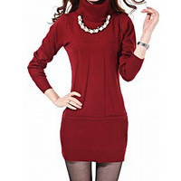 Red Turtleneck long Sleeve Knitted Dress