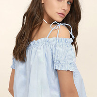 Seaway Blue and White Striped Off-the-Shoulder Top