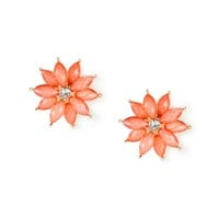 Coral Glitter Stone Marquis Flower Stud Earrings
