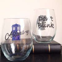 Dont Blink and Allons-y set Stemless wine glass or beer mug