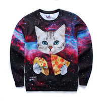 2016 fashion youth spring Autumn thin sweatshirts girls big kids funny 3D pizza kitten printed jogger hoodies boy W2