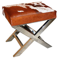 "Taylor Burke Home, Peter 23"" X-Bench, Brown/White Hide, Ottomans"