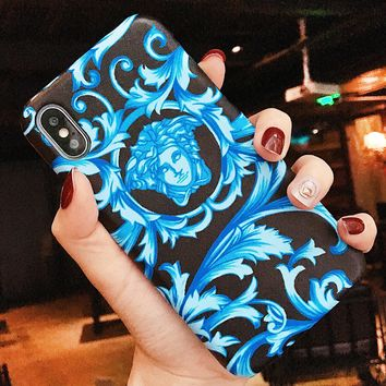 Versace New fashion human head print couple protective case phone case