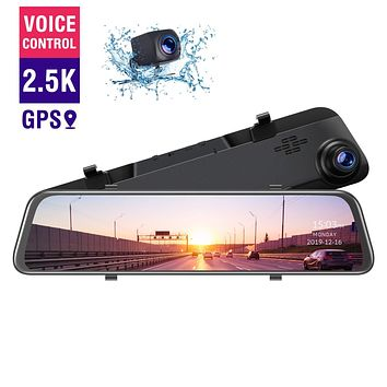 "TOGUARD 2.5K Mirror Dash Cam GPS Voice Control Backup Camera, 12"" Touch Screen Front and Rear Dual Lens Dash Camera for Cars Waterproof Rear View Mirror Camera with Parking Assistance Night Vision"