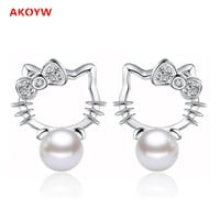 Hello Kitty jewelry Silver plated Shambhala Super Flash crystal agate stone imitation pearl earrings 8MM