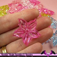 15 pcs Lilly FLOWER Pretty Transparent Acrylic Beads Mixed Colors