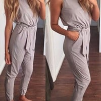 Summer Women's Fashion Sleeveless Round-neck High Rise With Pocket Waistband Pencil Pants One-piece Jumpsuit [4918572356]