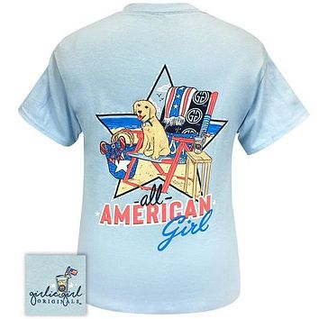 Girlie Girl Originals Preppy All American Girl Beach Dog T-Shirt