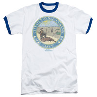PARKS & REC/DISTRESSED PAWNEE SEAL - ADULT RINGER - WHITE/ROYAL -