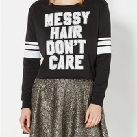 Messy Hair Raw Hem Sweatshirt
