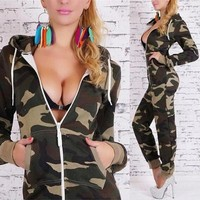 Summer Women Sexy Elegant Long Sleeved Camouflage Zipper Jumpsuit = 5709553089