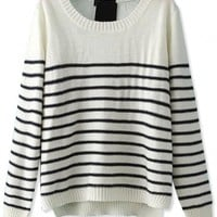 Demure Striped High-Low White Knit Sweater - OASAP.com