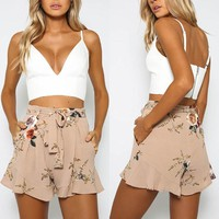 US Stock Women Boho Floral Summer Bandage Casual Shorts High Waist Beach Pants