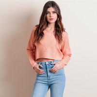 Round Collar Cropped Sweater