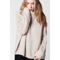 Q2 Beige wool oversized Chunky Knit sweater