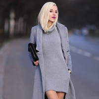 Roll Neck Knitted Vest Dress