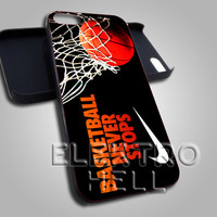 Basketball Never Stops nike - iPhone 4/4s/5 Case - Samsung Galaxy S3/S4 Case - Black or White