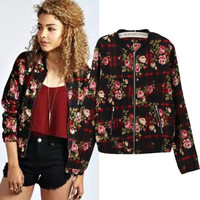 Floral Plaid Long Sleeve Cropped Zipper Jacket
