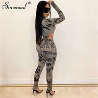Letter Print Skinny Women Matching Set Long Sleeve Fashion Sexy Two Piece Outfits Bodycon Hot Bodysuit And Pants Sets