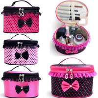 Oval Pouch Cosmetic Makeup Case Polka Dots Edition