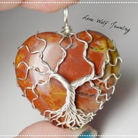 Petrified Wood Tree of Life pendant Sterling Silver  Wire Wrapped Tree Necklace Yggdrasil Pendant  Heart Stone Necklace Red