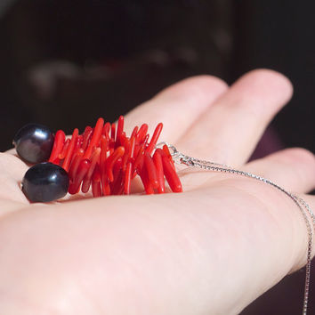 Threader Earrings Sterling Silver 925 Black Pearls Red Coral Shards Contemporary asian style design Sophisticated sexy evening Bohemian chic