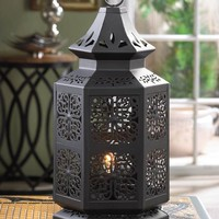 Large Black Moroccan Style Electric LED Table Lamp