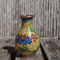 Adorable Miniature Yellow Cloisonné Vase