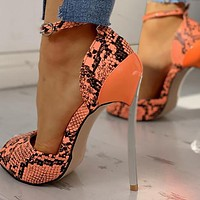 Women High Heel Shoes Fashion Snake Thin Heel Ladies Leather Shoes Business Party Toe Pumps Shoes