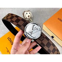 LV new personality letter round buckle men and women models wild belt silver