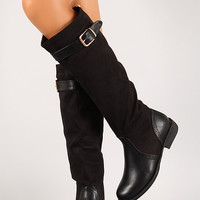 Mixed Media Belted Knee High Riding Boot