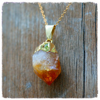 Handmade Citrine Point Pendant Gold Plated Necklace