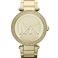 Michael Kors Golden Stainless Steel Parker Chronograph Glitz Watch
