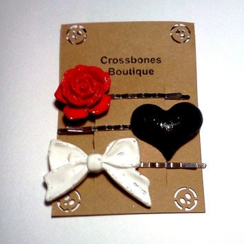 Large Rose Heart and Bow Bobby Pin Set Cabochon Hair Pins, Red White and Black