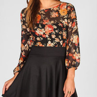 TRUTH Floral Print Womens Bow Back Top