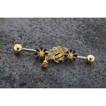 Save The Bees Queen Bee Gold Industrial Barbell