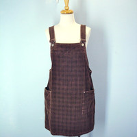 80s Corduroy Jumper Brown Dress Suspenders Front Pockets