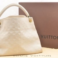 Auth Louis Vuitton Monogram Empreinte Artsy MM Shoulder Bag White LV 42069