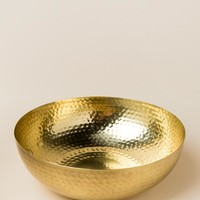 Round Metal Bowl with Gold Finish
