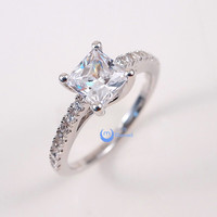 1ct Princess Cut Solitaire w/Accent Engagement Wedding Rings Set Silver CZ
