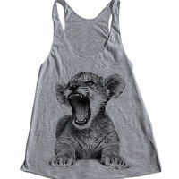LION CUB Tank Top American Apparel Triblend Racerback Tank Top Hand Screen Printed 6 Color Available