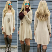 Women Fashion Casual Loose V-Neck Long Sleeve Solid A-Line Short Dress