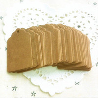 100PCS Kraft Paper Hang Tags Birthday Party Favor Gift Label Brown Cards Hot 3C