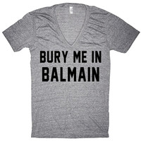 Bury Me in BALMAIN Gray Oversized Slouchy Comfortable Lightweight V-neck T-shirt