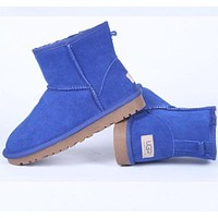 """UGG"" Women male Fashion Wool Snow Boots  Lake blue"