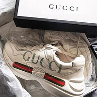 GUCCI Hot Sale Women Men Leisure Leather Running Sport Sneakers Shoes