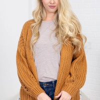 Heavy Knit Cotton Cardigan | Bronze
